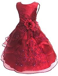 94e7209c09e15 LSERVER Enfant Filles Robe Mariage Soirée Princesse Demoiselle Bustier  Fleur Jupe Longue ...