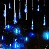 ERGEOB 8*50cm Tube 448er LED Meteorschauer Regen Schneefall 100V-240V Deko-Leuchten Lichterkette für Außen Garten Weihnachten Dekoration blau
