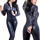 Lover lingerie Wet Look Catsuit Latex Zip Bodysuit, Black, XL