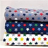 MAGAM-Stoffe Warm Stars Stoffpaket 3 x 50cm Jersey Stoff Set Oeko-Tex