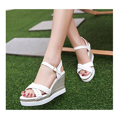 Sandales femmes été à talon compensé bouts ouvert plate-forme Blanc