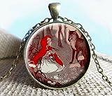 Rotkäppchen mit Wolf Bild Halskette, Little Red Riding Hood, Halskette, Märchen, Once Upon A Time