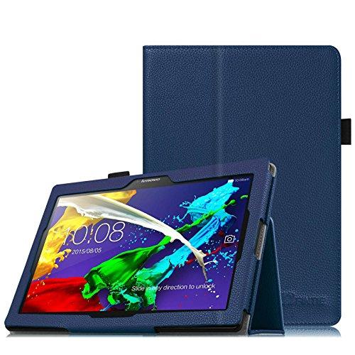 Fintie Lenovo Tab 2 A10-70 / A10-30 Hülle Case - Folio Kunstleder Schutzhülle Tasche Etui mit Auto Schlaf / Wach Funktion für Lenovo Tab 2 A10-70 / A10-70L / A10-70F / A10-30 / A10-30F / Tab 3 10 Business 10,1 Zoll Tablet, Marineblau