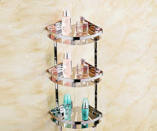 QUEEN'S Three-Tier Stainless Steel Bathroom Shelves Bathroom Corner Shelves Bathroom Shelves 304 Toilets Tripod Innovation Platform Three