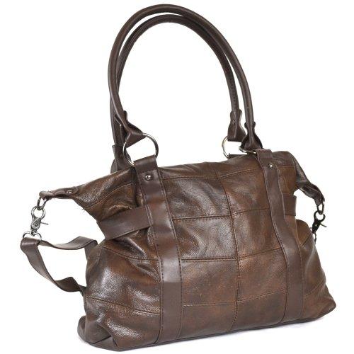 große Dameneinkaufstasche, -handtasche Leder mit abnehmbarem Schulterriemen (Schwarz / Dunkelbraun / Dunkelbeige / Dunkelblau / Rot / Hellbraun) Dunkelbraun