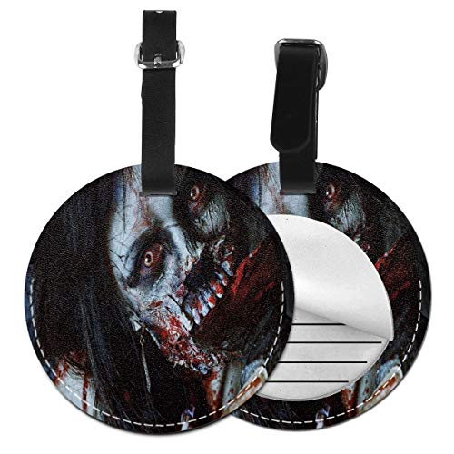 Round Travel Luggage Tags,Scary Dead Woman with Bloody Axe Evil Fantasy Gothic Mystery Halloween Picture,Leather Baggage Tag (2019 Halloween Cruise)