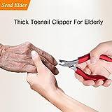 Fußnagelschere für Senioren, Nagelzange für Starke & Dicke Fußnägel, Eingewachsene Fußnägel, Pilzinfektion. Extralanger Griff, Ledertasche, Sicher zu Speichern