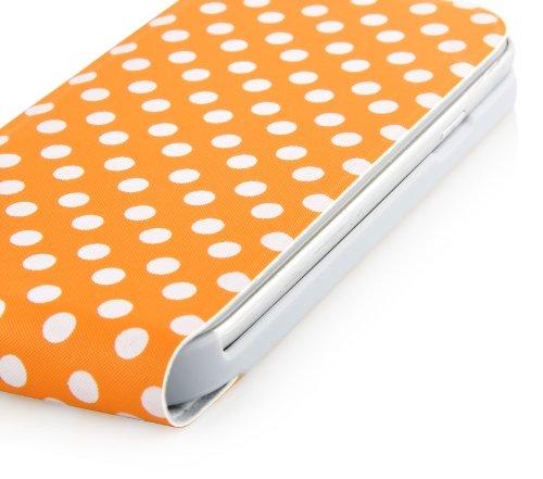JAMMYLIZARD | Polka Dot Flip Case Hülle für iPhone 5 und 5s, SCHWARZ ORANGE