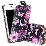 tinxi® Kunstleder Tasche für Apple iPhone 5 5S Hülle Schutzhülle Flipcase Case Cover mit Blume Schmetterling