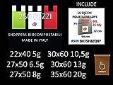 P&D 250 BUSTE BIODEGRADABILI shoppers biocompostabili 250 pezzi biodegradabili e compostabili UNI 13432 +GADGET 10 SACCHI 80Litri TRASPARENTI MILLEUSI+BLOCK NOTE (250 22x40 5g verdi)