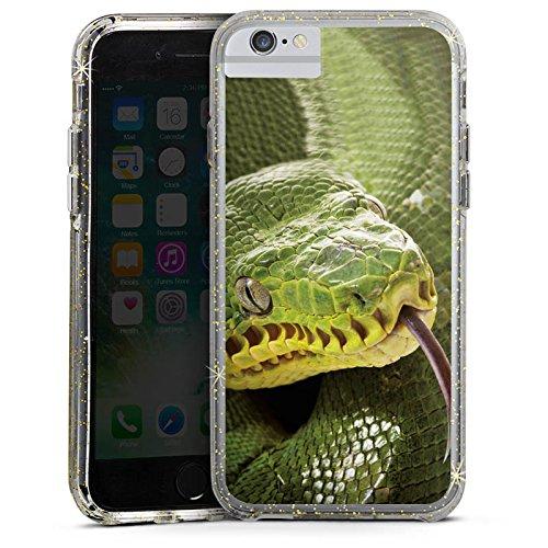 Apple iPhone 6s Plus Bumper Hülle Bumper Case Glitzer Hülle Natter Schlange Snake Bumper Case Glitzer gold