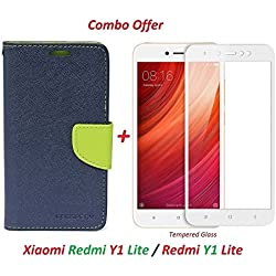 Shopping Monk® ( COMBO OFFER ) Mi Y1 Lite / Xiaomi Mi Y1 Lite / Redmi Y1 Lite / Mi Redmi Y1 Lite / Xiaomi Redmi Y1 Lite / MiY1 LITE / RedmiY1 Lite / Xiaomi Mi Y1 Y One Lite - Original Flip Cover Case Wallet Style (Blue green) + + 2.5D curved 3D Edge to Edge Full Screen Tempered Glass Mobile Screen Protector - ( White )