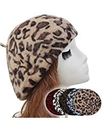 df4c165775ebb YAKEFJ Women s French Style Vintage Leopard Print Wool Soft Winter Warm  Beret Beanie Hat