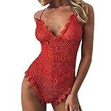 Pyjama Yazidan Mode Frau Sexy Spitzenkante Unterwäsche Rückenfrei Overall Elegant Body Mieder Transluzent Nachthemd Aushöhlen Nachtwäsche Ungefüttert Nighties Babydoll Schlaf-Kleid(rot,XL)