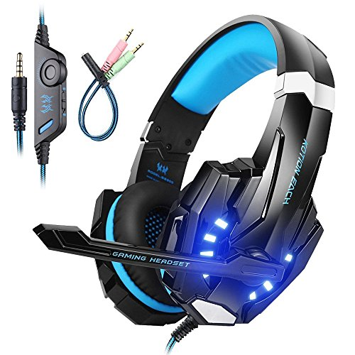 Mengshen Gaming Headset FüR PS4/Xbox One/Xbox One S/PC/Mac/Laptop/Handy - Gaming-KopfhöRer Mit Mikrofon, Led-Licht, Bass Surround, Noise Cancelling, Weiche OhrenschüTzer, G9000 Blue