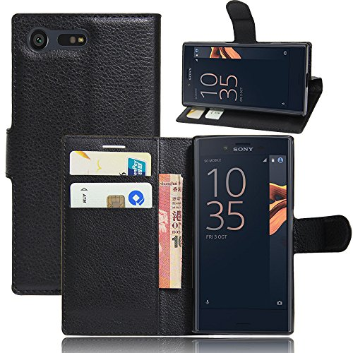 Sony Xperia X Compact Hülle, IVSO Hohe Qualität Advanced Shock Absorption Technology Case Folio Tasche Cover für Sony Xperia XCompact Smartphone (11,7 cm (4,6 Zoll) (Schwarz)