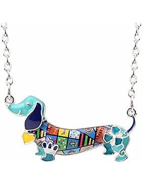 Emaillierter Anhänger Dackel Terrier mit Legierung Kette Halskette mit einzigartig Anhänger für Frauen, Mädchen...