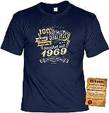 T-Shirt 50 Geburtstag - Geburtstagsshirt Sprüche Jahrgang 1969 : 100 Prozent Premium Qualität 1969 - Geschenk-Shirt zum 50.Geburtstag Frau/Mann + lustige Urkunde Gr: XL