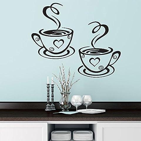 ZPL Etiqueta de la pared del PVC Pumi tallado un par de tazas de café decoración del restaurante cocina alta calidad vidrio negro café tienda 19 * 31cm , x 18.7cm 31cm