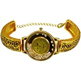 Gauri's A Indian Beautiful Hand Craved Watch with Zircon Gold Plated Bracelet For Girl's AIW709
