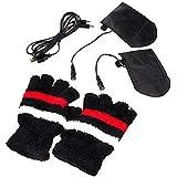 Alimentado por USB portátil calefacción guantes sin dedos medio dedo guantes de invierno calentador de manos para mujeres niñas