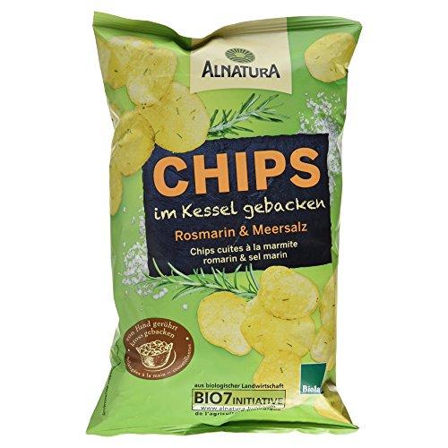 Alnatura Bio Chips im Kessel gebacken Rosmarin & Meersalz, vegan, 5er Pack (5 x 125 g) (Gebacken Chips)