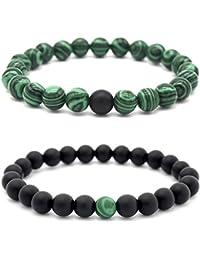 Sadingo Naturstein, Edelstein Armband Set, Partnerarmbänder, Couple Vibes, aus 8 mm Perlen - Auswahl möglich, Auswahl:Malachit/Onyx