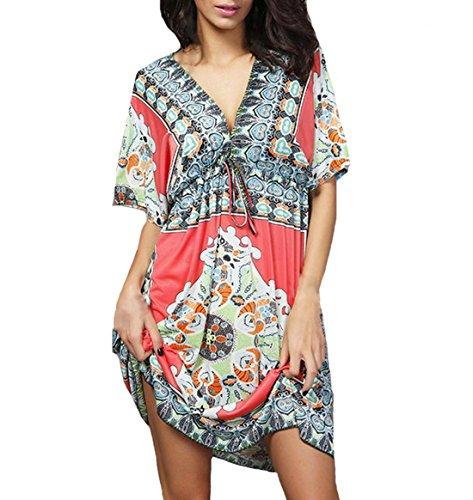ZhiWanTing Damen V-Ausschnitt Elegant Floral Strandkleid Sommer Kleider Rot