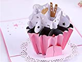 BC Worldwide Ltd Handgemachte 3D Pop-up-Karte rosa Tasse Kuchen Geburtstag Muttertag Vatertag Hochzeitstag Verlobungsfeier Baby Dusche Geburt Ostern Thanksgiving Weihnachtskarte Geschenk für sie ihn Freund Familie
