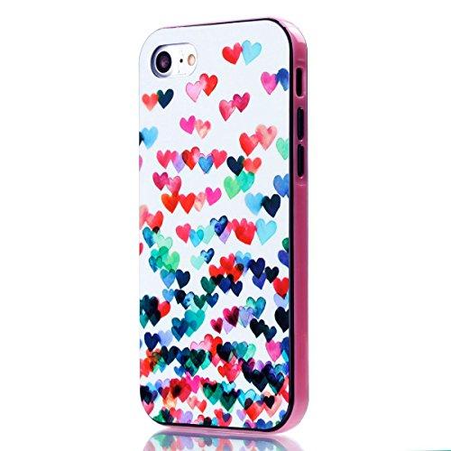 iPhone 8 Silikon Hülle, iPhone 7 Silikon Hülle, BONROY® TPU Schutzhülle für iPhone 8 / iPhone 7 Silikon Handyhülle Case Cover,TPU Case Helle Schale Painted Handytasche Weiche Zurück Tasche Etui Bumper Liebe