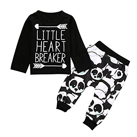 TIFIY Seasonal Selection Baby Clothes Outdoor Kids Infant Baby Boy Long Sleeve Letter Blouse Tops +Pants Outfits Clothes Set (Black,