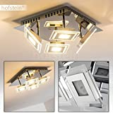 LED Deckenlampe Cerreto – 4-flammige Deckenleuchte mit quadratischen Glas Lampenschirmen – Leuchtköpfe verstellbar - je 400 Lumen – 3000 Kelvin – moderne Deckenlampe aus Metall in Chrom