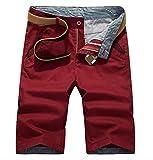 WSLCN Homme Bermuda Chino Pantacourt Coton Shorts Couleur Divers (sans Ceinture) Rouge Taille FR 44(Asie 34)