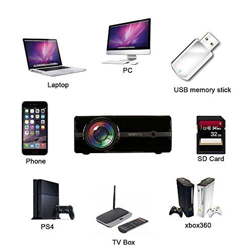 SO-buts Uhappy U45 Mini Beamer,1600 Lumens,Full 1080P Video LED Mini HD Projektor, Mini Tragbarer Projektor Unterstützung HDMI,USB Kino Multimedia, Heimkino Kino Multimedia Projektor (Schwarz)