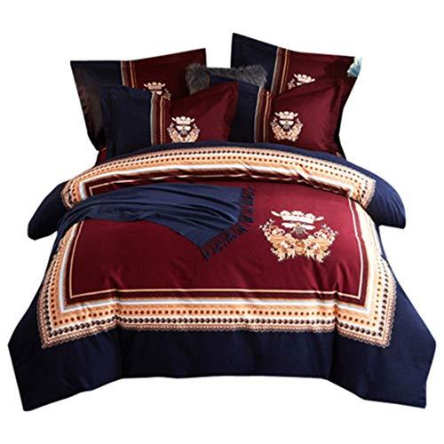 YJJSL Baumwolle-Bettwäsche-Set, Student Schlafzimmer Hochzeit Stilvolle Einfachheit Duvet Suit, chinesischen nationalen Stil 3D-Blumen Naked Sleep Quilt Anzug Set - abnehmbar 3 / 4Pcs -