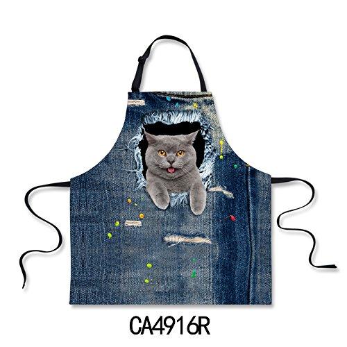 (Nopersonality Schürze für Hunde und Katzen, Jeansstoff, mit verstellbarem Hals, Baumwolle, Denim Style4, M)