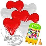 15 Herz Luftballons mit Helium Ballon Gas Hochzeit Valentinstag Komplettset (Rot/Weiß)