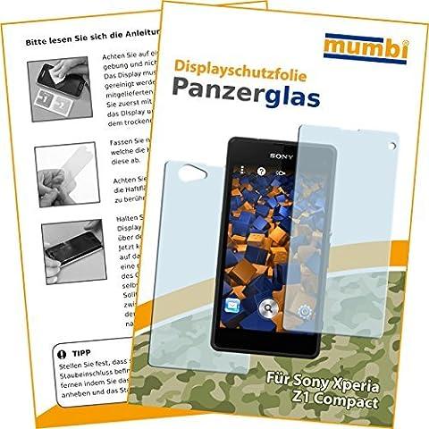 2x mumbi Panzerfolie für Sony Xperia Z1 Compact Glasfolie Hartglas 9H (1 x VORNE und 1 x RÜCK (Compact Z1)