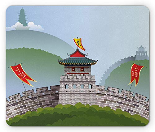 Pad, Cartoon Style Great Wall of China Curvy Design Flag Hills with Greenery Image Gaming Mousepad Office Mouse Mat Multicolor ()