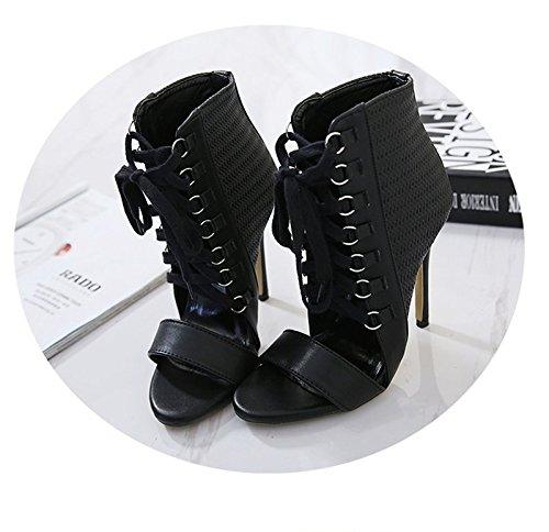 Des Forty Les Chaussures Bien Cuir Cross Femmes KHSKX 8 Avec Talons Des Des 5Cm Chaussures Summer Noires Lace En Sandales Correspondent Sont g71p7q