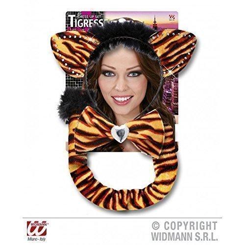 Tigerkostümset / Tigerset 3 - teilig in orange - schwarz ( Ohren , Fliege , Schwanz )