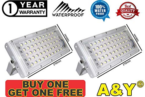 saavre 50W Ultra Thin Slim IP65 LED Flood Outdoor Cool Day Light White Waterproof (50 watt)(White) 1 Pc. & 1 Free