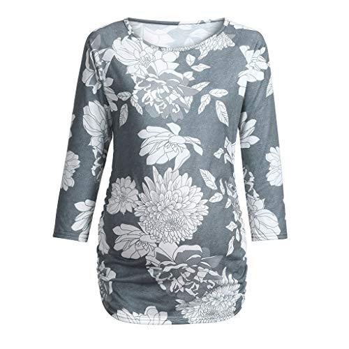 Yazidan Frauen Mutterschaft Langarm Blumendruck Tops Schwangerschaft T-Shirt Kleidung Lange Ärmel Mutterschaft Oben Kleider Pullover Pullovershirt Sweatshirt Langarm Stillshirt Mama ()