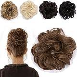 Haargummi Haarteil Dutt Synthetik Haare für Haarknoten Gummiband Hochsteckfrisuren Haarband Braun