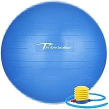 Timberbrother Anti-éclatement Ballon d'exercice, Ballon Suisse 55cm / 65cm / 75cm Diamètre avec Pompe pour Yoga, Pilates, Fitness, Thérapie Physique, Sport et maison d'exercice