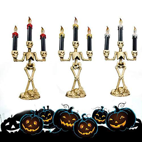 JJIIEE Kunststoffkandelaber Halloween, LED Halloween Skelett Kerzenhalter Flammenloses Licht Halloween-Kandelaber, für Halloween Festival (3-Kerzen-Licht) -