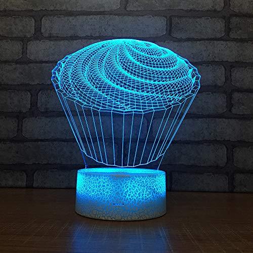 3D Optisches Nachtlicht Nachttischlampe Für Kinder LED Tischleuchte Dekoratives Licht 7 Farben Andern Touch Switch Acryl USB Batterie Crack Basis Cup Cake Fernbedienung