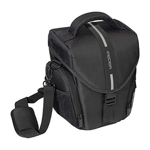 PEDEA'Essex' SLR-Kameratasche mit Regenschutz, Tragegurt und Zubehörfächer Gr. L, schwarz/grau