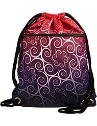 bolsa de deporte impermeables Hipster 11 estilos frontal y bolsillo interior con cremallera cuerdas gruesas bolsa inconformista, bolsa de deporte, Bolsas de cuerdas (Floral Negro-Rojo)