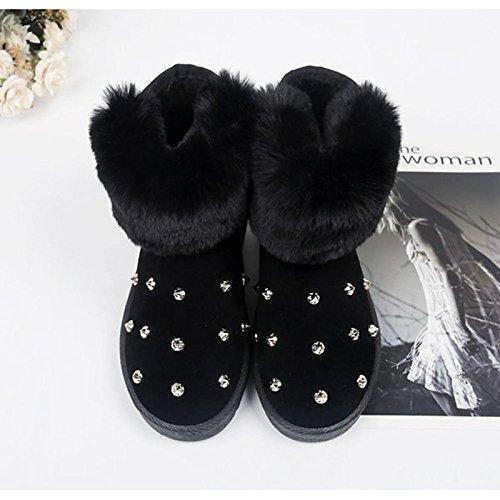 HSXZ Scarpe donna pu inverno Comfort stivali Null rotonda piatta Mid-Calf Toe Stivali / per esterni di Colore Verde Nero Grigio Gray